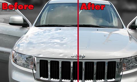 Car with dents before and after dent repair in Lewisville, TX